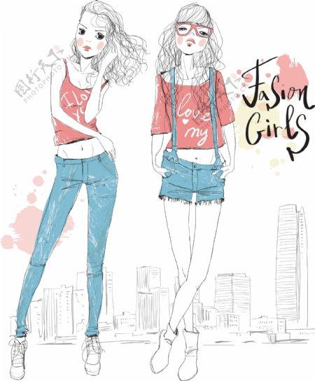 手绘时尚时尚少女插画