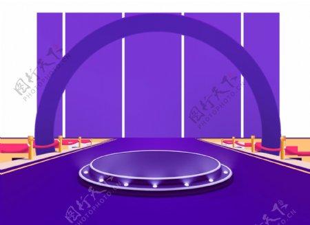 卡通紫色舞台拱形门png元素