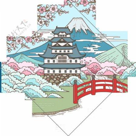 清新方形图案日本旅游装饰元素