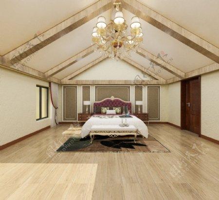 美式卧室效果图模型MAX文件