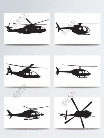 直升飞机黑色矢量剪影