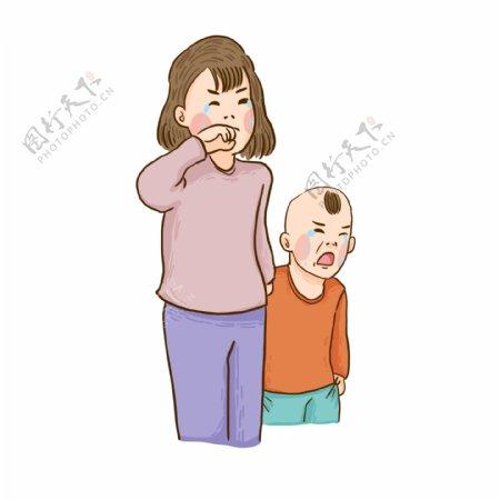 伤心哭泣的母子卡通元素
