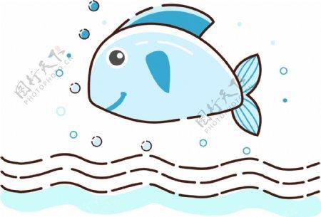 卡通手绘MEB风格鱼矢量图