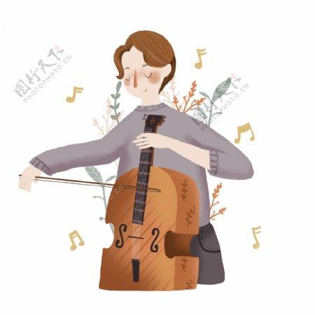 音乐节乐器演奏人物小清新风插画拉大提琴