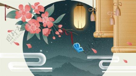 竹帘粉色花朵圆拱形门洞花灯卡通背景