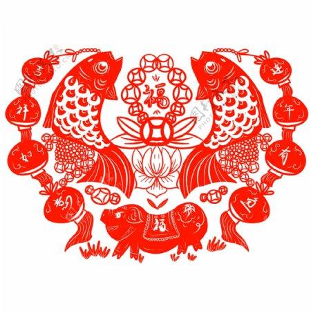 2019生肖猪春节灯笼年年有鱼剪纸素材