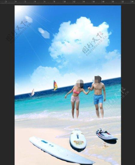 夏日沙滩大海帆船比基尼美女阳光