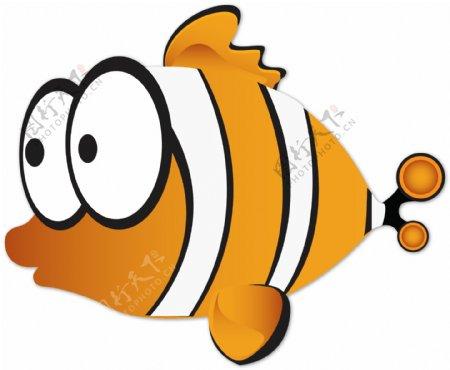 手绘卡通黄色小鱼矢量图