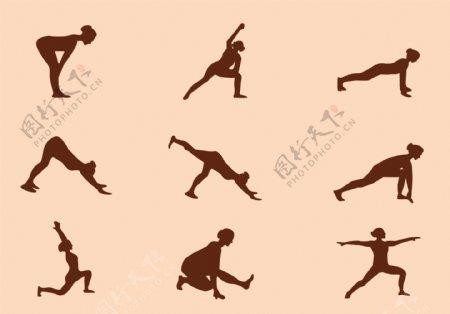 瑜伽动作矢量剪影