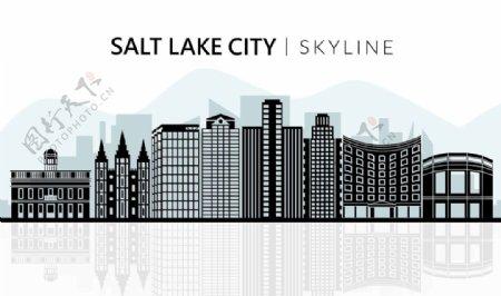 矢量剪影城市建筑盐湖城