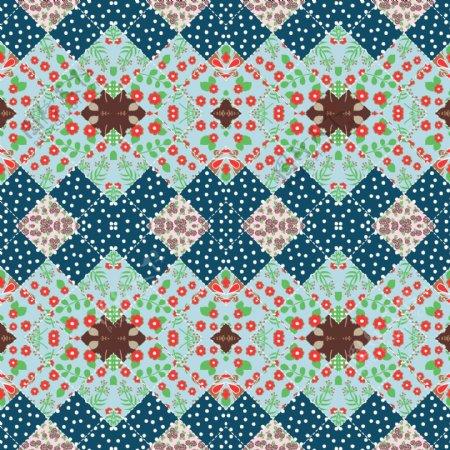 几何菱形格子花纹面料印花