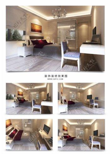 现代酒店标准间大床房模型