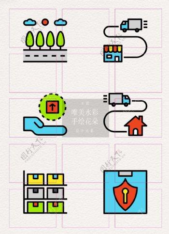 卡通彩色货运码头元素图标icon设计