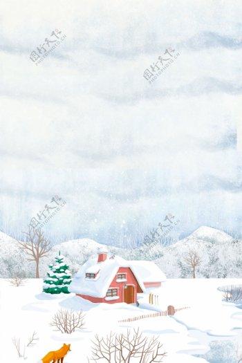 简约白色冬季小寒节气背景设计