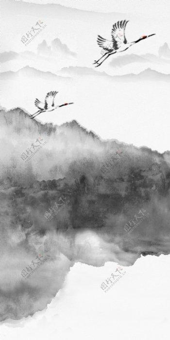新中式水墨抽象山水背景图