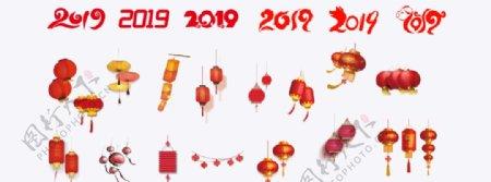 2019猪年春节灯笼元素