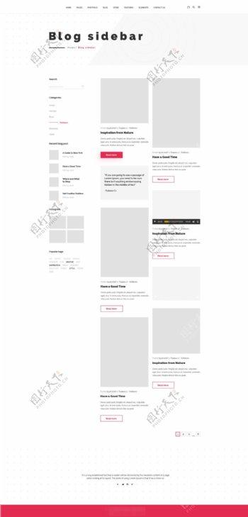 时尚国外网站博客侧边栏展示页面psd模板