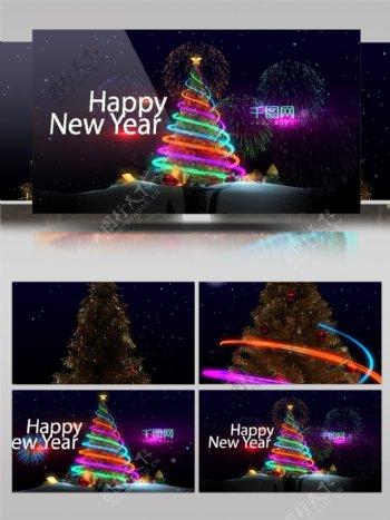 炫彩灯带缠绕圣诞树节日祝福AE模板