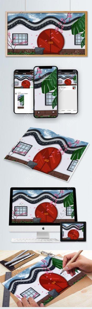 拱形门围墙庭院复古中国风古风建筑插画素材