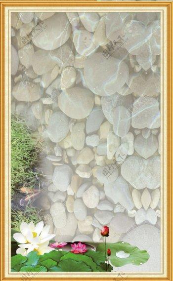 荷花鹅卵石波光粼粼背景