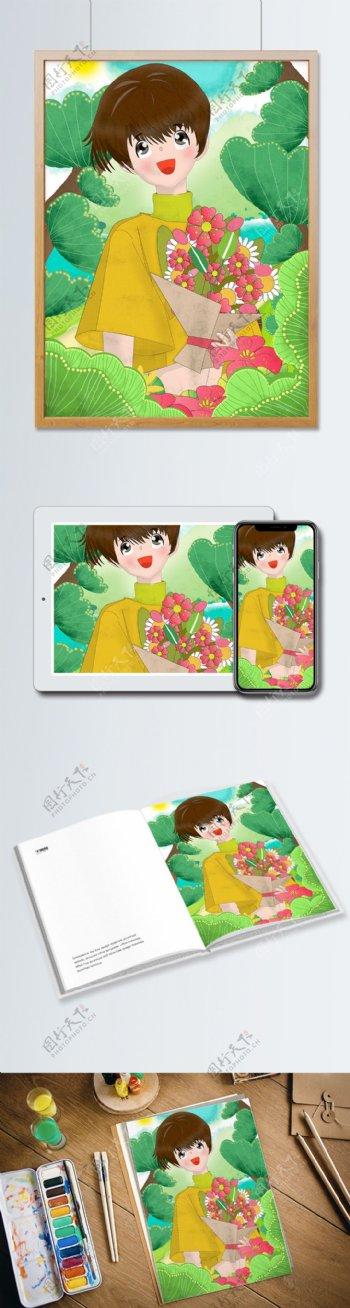 38妇女节之山中采花的短发女孩扁平风插画