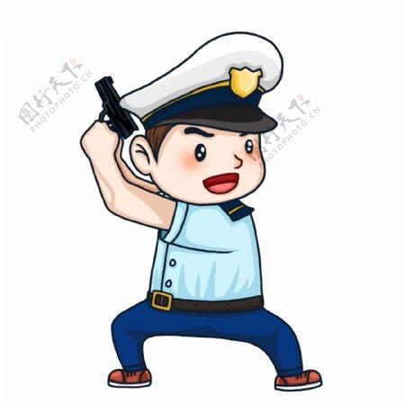 手绘可爱举着枪的警察人物设计