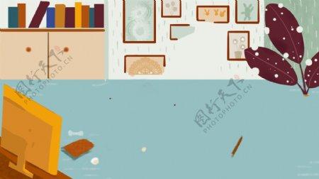 手绘家居书柜背景设计