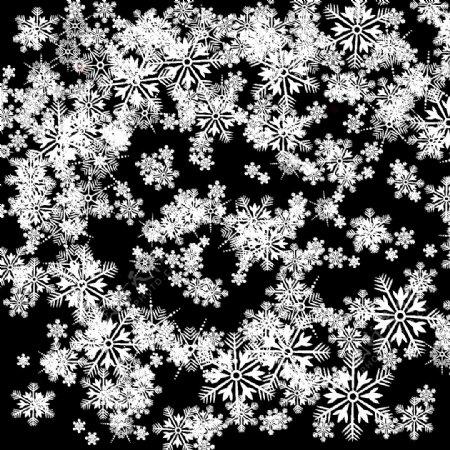 绚烂纯白雪花边框图案