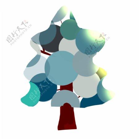 蓝色非主流树木插画