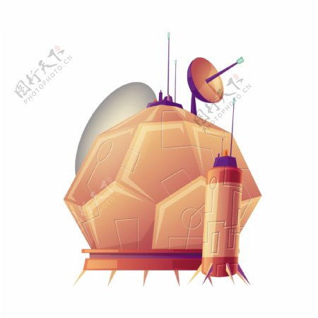 卡通UFO雷达矢量素材
