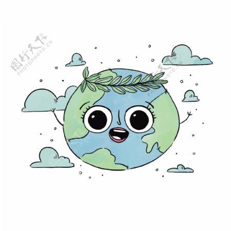 卡通手绘保护地球矢量图片