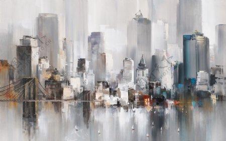 抽象水墨城市建筑风景