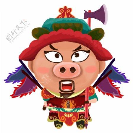 猪年插画卡通门神