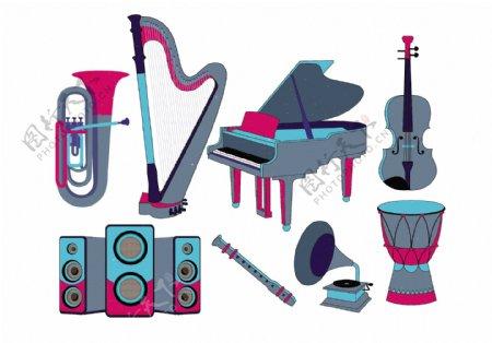 卡通乐器图案元素