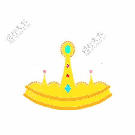 金色彩钻皇冠卡通手绘