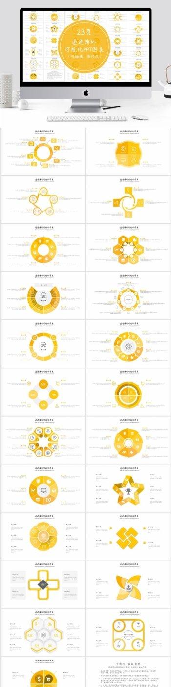 递进循环可视化实用PPT图表