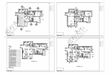 欧式风格三居室户型CAD施工图
