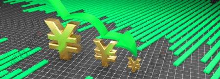 金融理财金融商业人民币下跌曲线背景
