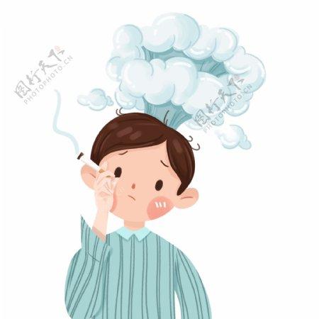 手绘抽烟的坏男孩插画设计