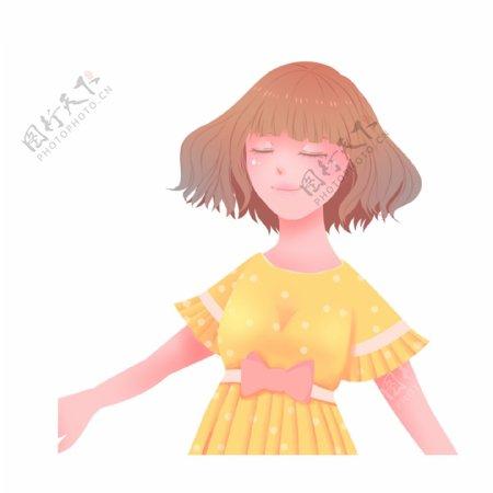手绘一个可爱的短发小女孩