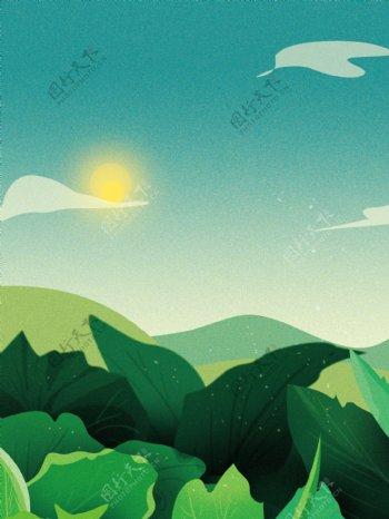 绿色天空另类小清新背景素材