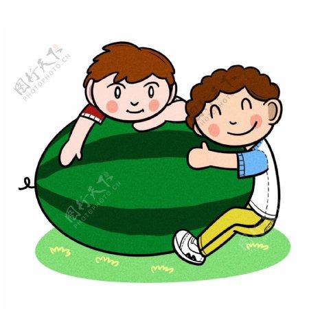 卡通儿童夏天怀抱大西瓜png透明底