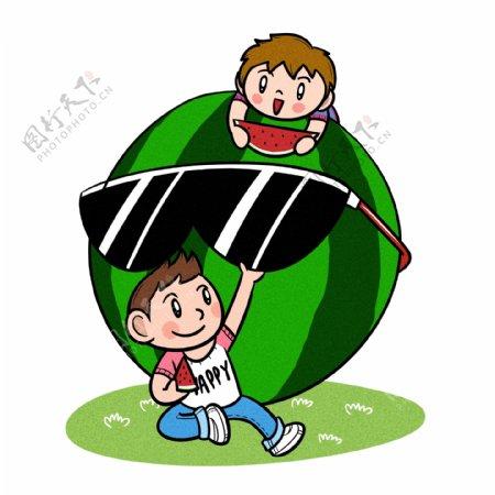 卡通儿童夏天一起在吃西瓜png透明底
