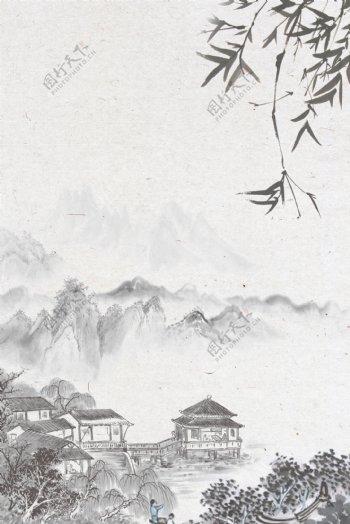 中国风江南山水竹子背景