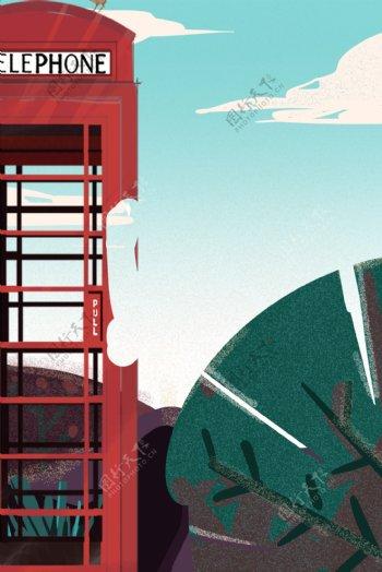 卡通植物和红色电话亭免抠图