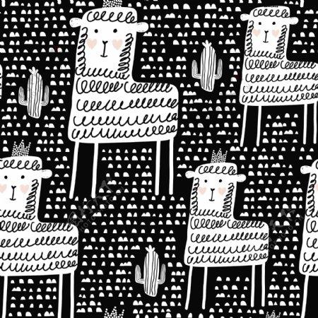绵羊卡通涂鸦插画