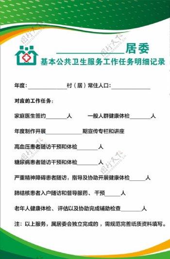 社区卫生服务中心任务明细记录