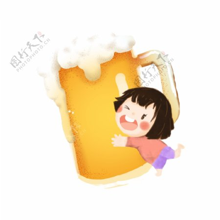 卡通手绘喝酒女孩png素材