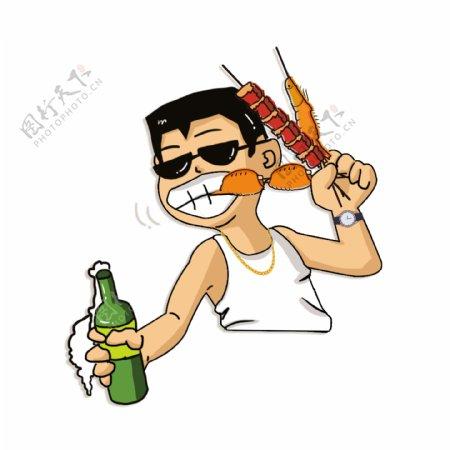 卡通可爱喝酒撸串男孩png素材
