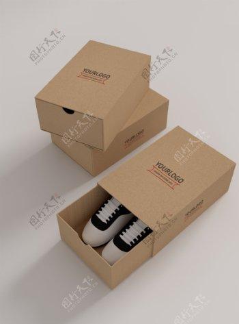 原创模型鞋盒logo贴图样机牛皮纸